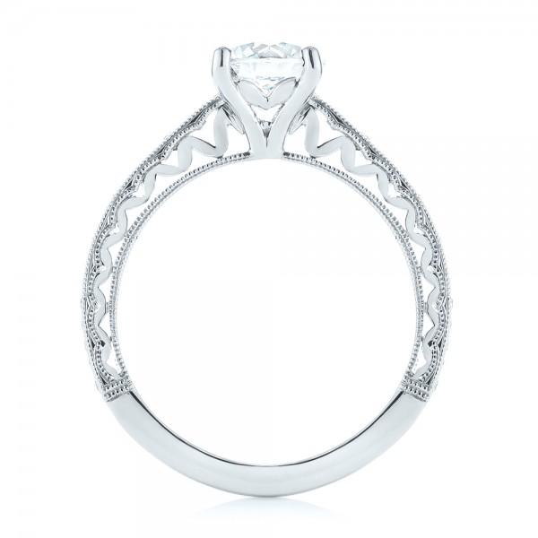 Custom Filigree Diamond Engagement Ring - Finger Through View