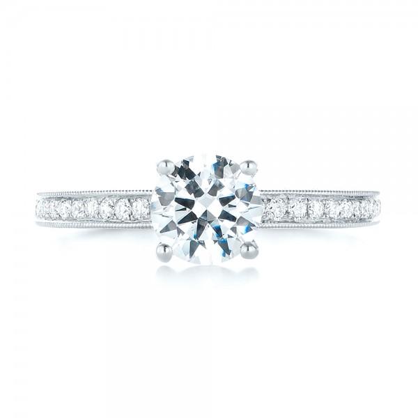 Custom Filigree Diamond Engagement Ring - Top View
