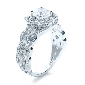 Custom Filigree Shank Engagement Ring - Image