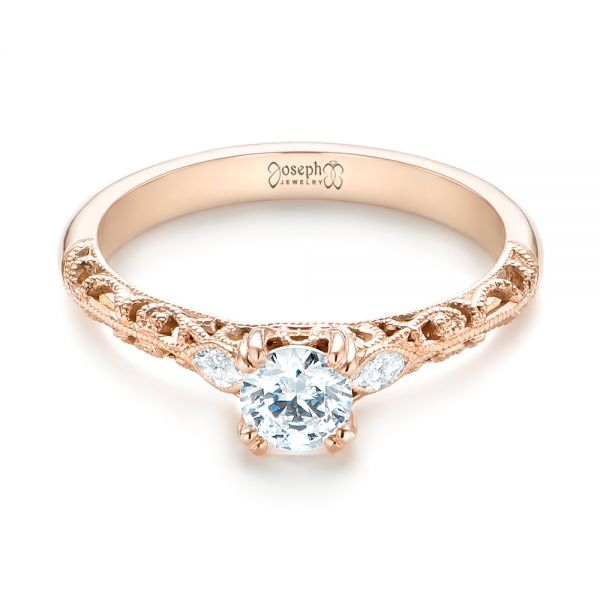 14k Rose Gold Custom Filigree And Diamond Engagement Ring - Flat View -  103372
