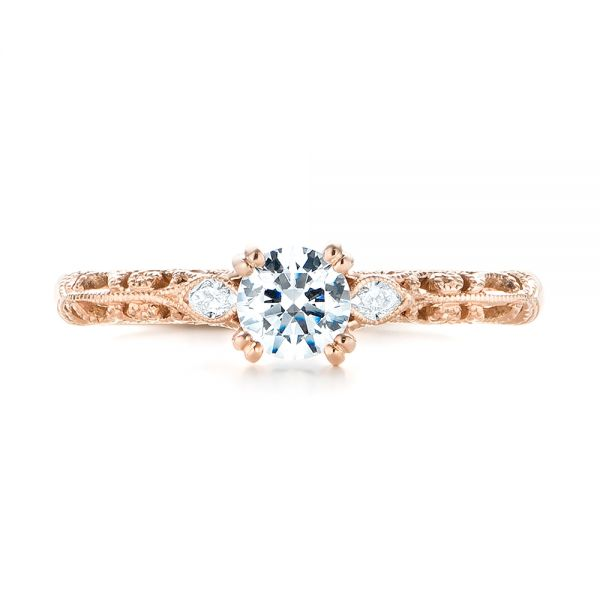 14k Rose Gold Custom Filigree And Diamond Engagement Ring - Top View -  103372
