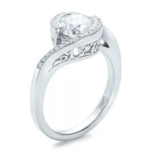 Custom Filigree and Diamond Engagement Ring - Image