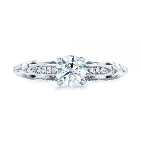 Custom Filigree and Diamond Engagement Ring - Top View -  101996 - Thumbnail