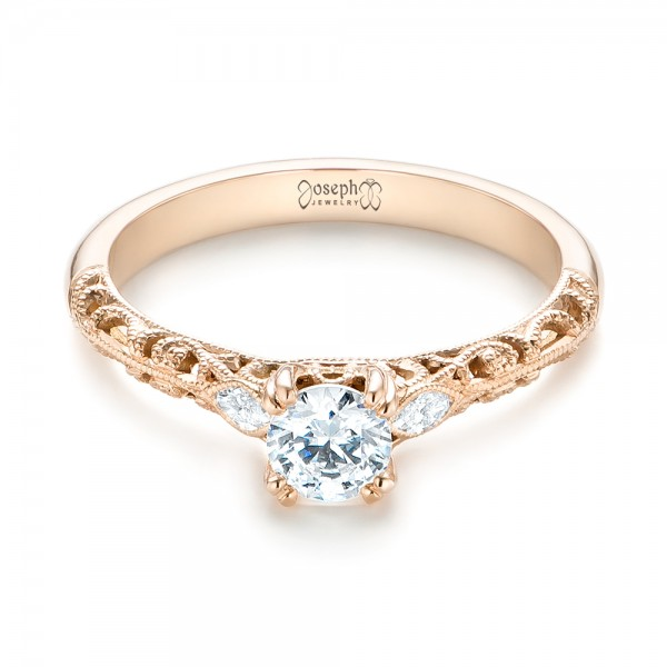 Custom Filigree and Diamond Engagement Ring - Laying View