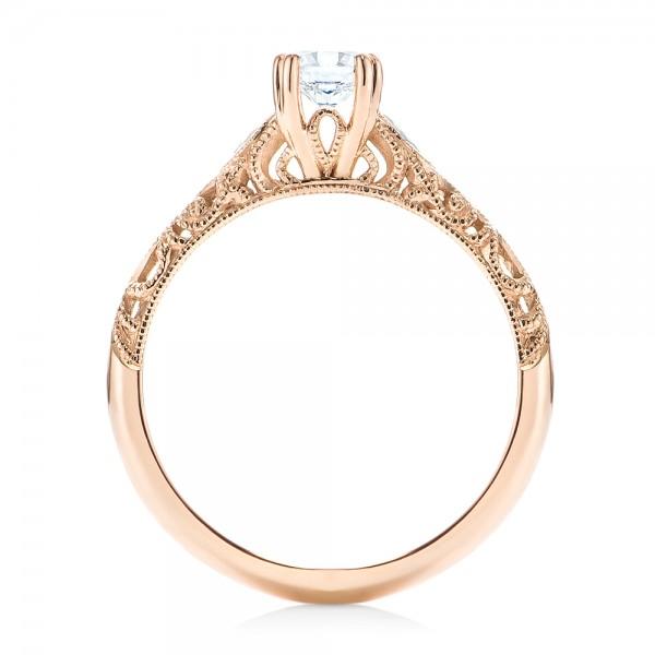 Custom Filigree and Diamond Engagement Ring - Finger Through View