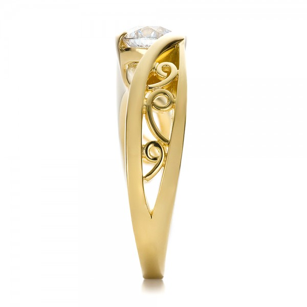 Custom Filigree and Diamond Engagement Ring - Side View