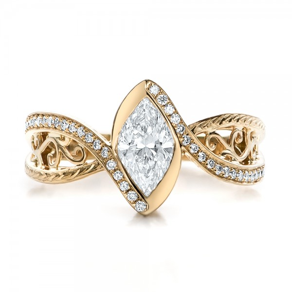 Custom Filigree and Diamond Engagement Ring - Top View