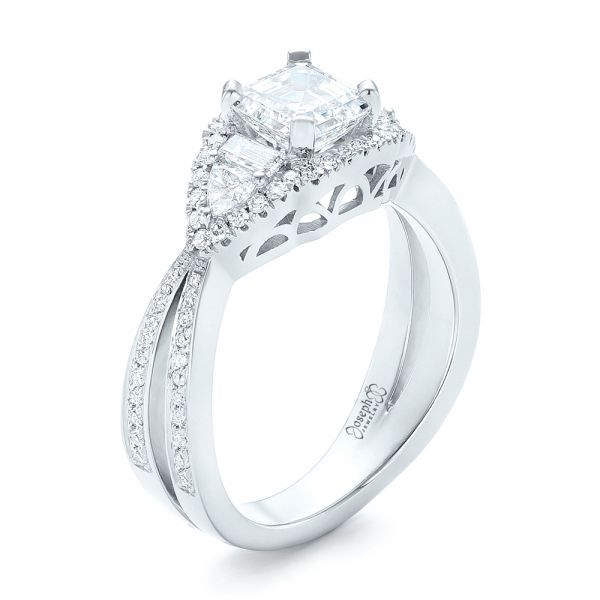 Custom Five Stone and Diamond Halo Engagement Ring - Image