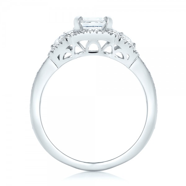 Custom Five Stone and Diamond Halo Engagement Ring - Finger Through View