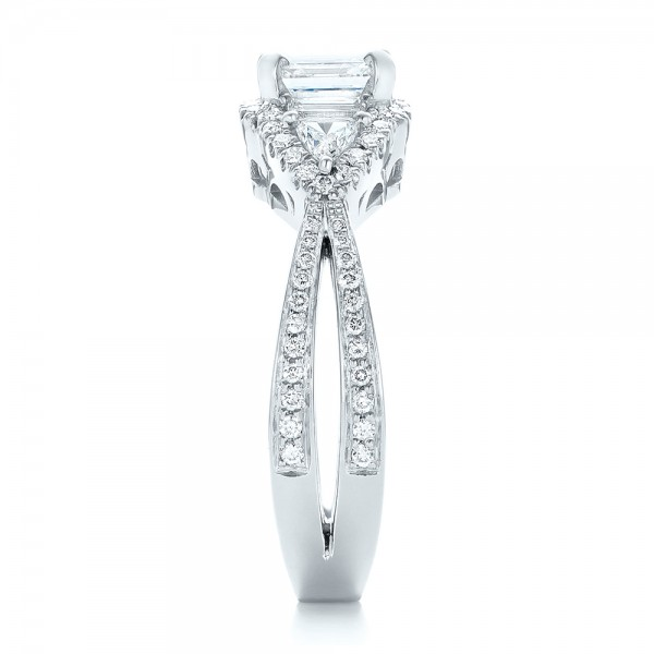 Custom Five Stone and Diamond Halo Engagement Ring - Side View