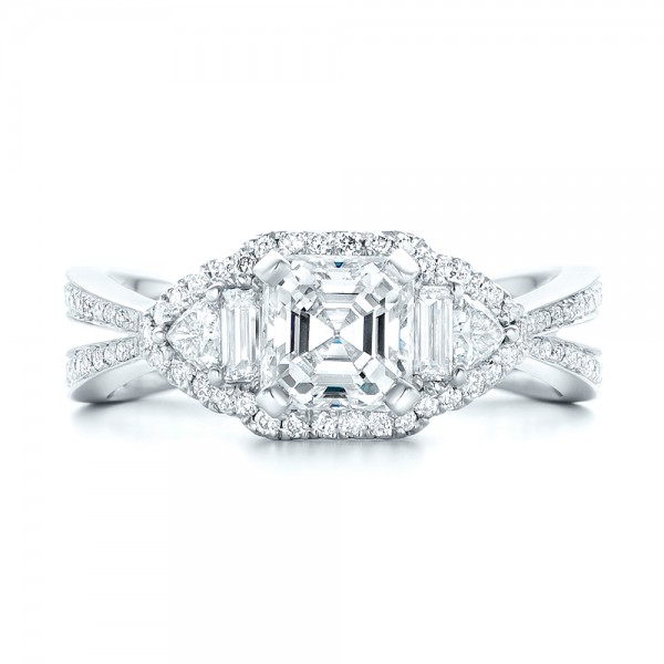 Custom Five Stone and Diamond Halo Engagement Ring - Top View