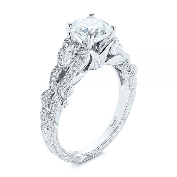 Custom Floral Organic Diamond Engagement Ring - Image
