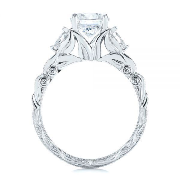 18k White Gold Custom Floral Organic Diamond Engagement Ring - Front View -  105180 - Thumbnail