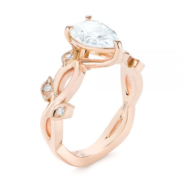 Custom Floral Rose Gold Moissanite and Diamond Engagement Ring - Image