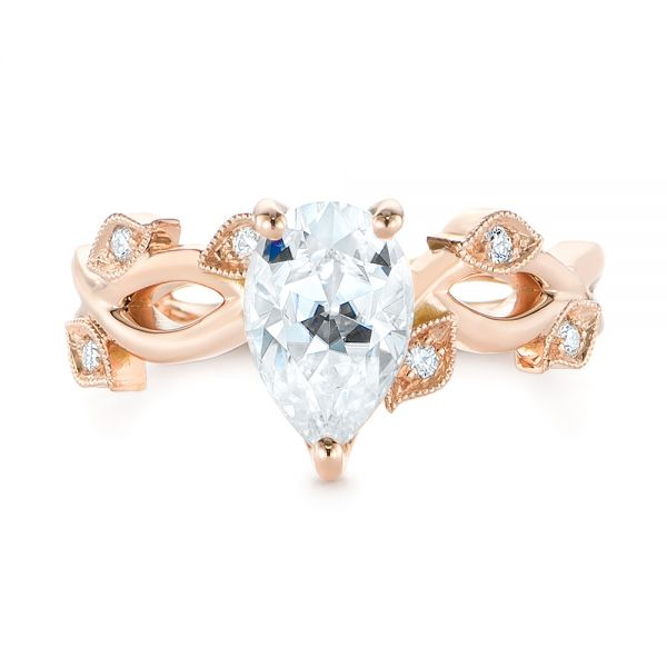14k Rose Gold Custom Floral Moissanite And Diamond Engagement Ring - Top View -  104880