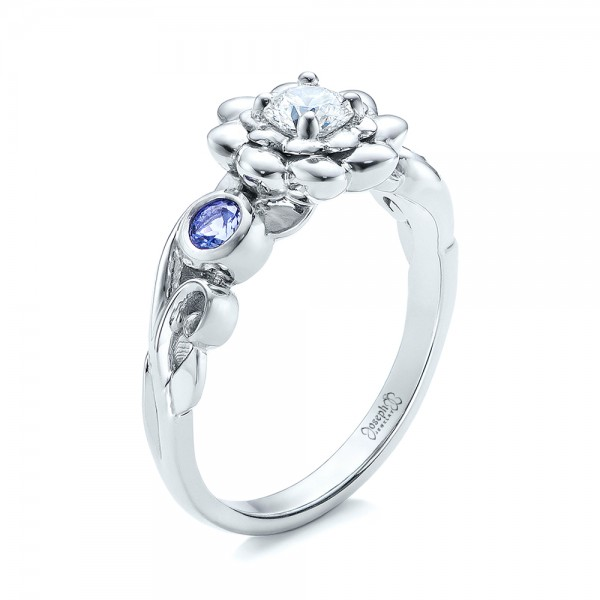 Custom Flower Top Diamond and Tanzanite Engagement Ring