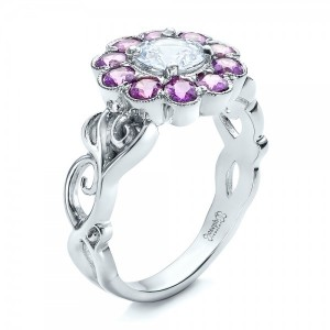 Custom Flower Top White and Purple Sapphire Engagement Ring