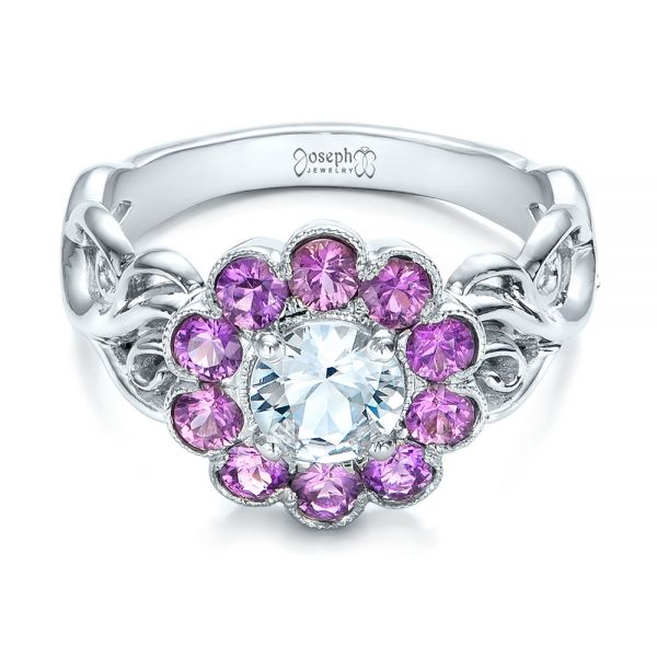 Platinum Custom Flower Top White And Purple Sapphire Engagement Ring - Flat View -