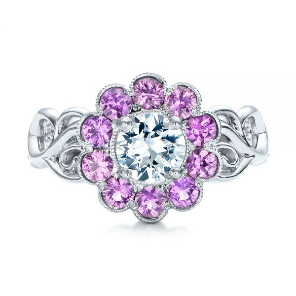 Platinum Custom Flower Top White And Purple Sapphire Engagement Ring - Top View -