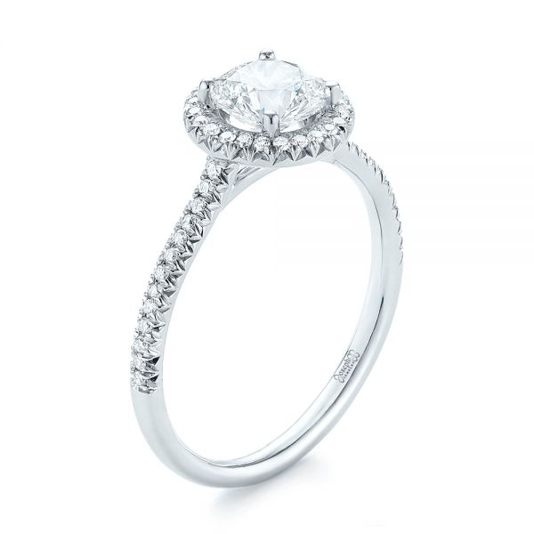Custom French Cut Halo Diamond Engagement Ring