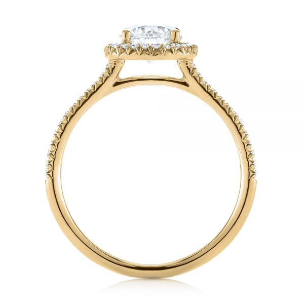 14k Yellow Gold 14k Yellow Gold Custom French Cut Halo Diamond Engagement Ring - Front View -
