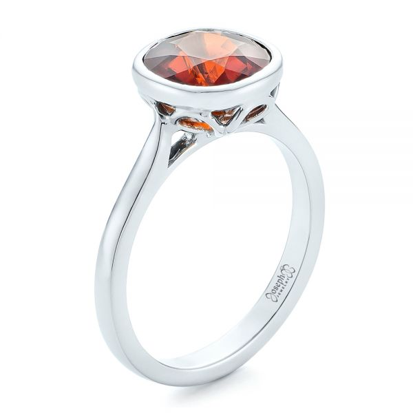 Custom Garnet Solitaire Engagement Ring