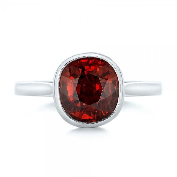Custom Garnet Solitaire Engagement Ring - Top View