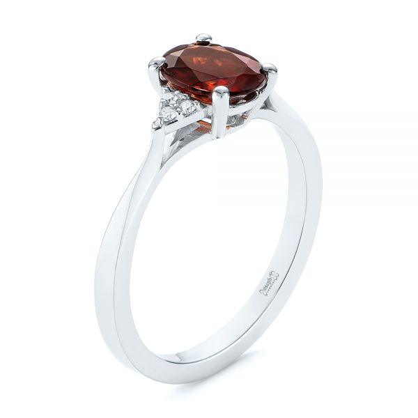 18k White Gold Custom Garnet And Diamond Cluster Engagement Ring - Three-Quarter View -
