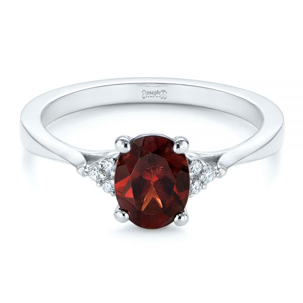 18k White Gold Custom Garnet And Diamond Cluster Engagement Ring - Flat View -  104870 - Thumbnail