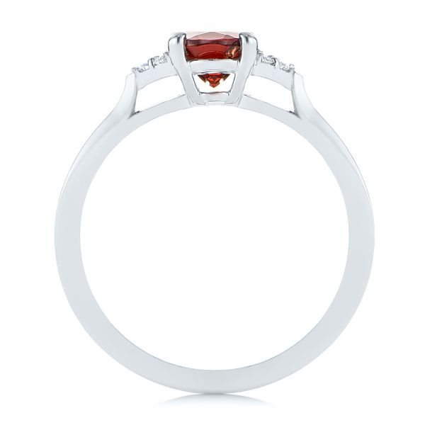 18k White Gold Custom Garnet And Diamond Cluster Engagement Ring - Front View -  104870 - Thumbnail