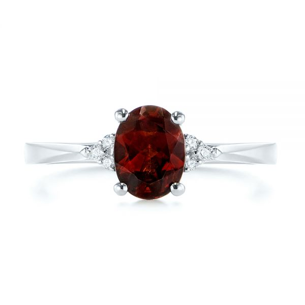 18k White Gold Custom Garnet And Diamond Cluster Engagement Ring - Top View -  104870 - Thumbnail