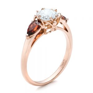 Custom Garnet and Diamond Engagement Ring - Image