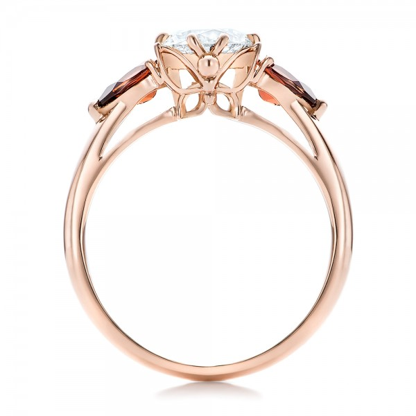 Custom Garnet and Diamond Engagement Ring - Finger Through View