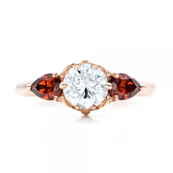 Custom Garnet and Diamond Engagement Ring - Top View