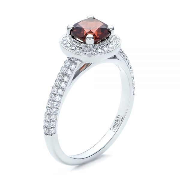 Custom Garnet and Diamond Halo Engagement Ring - Three-Quarter View -  100925 - Thumbnail