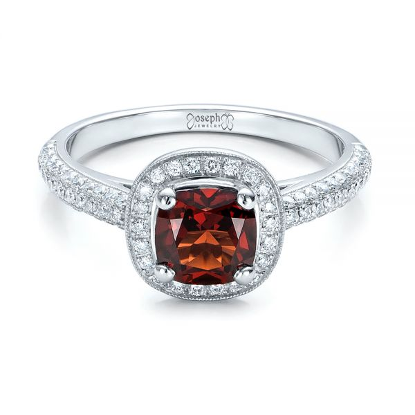 Custom Garnet and Diamond Halo Engagement Ring - Flat View -  100925 - Thumbnail