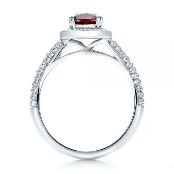 Custom Garnet and Diamond Halo Engagement Ring - Front View -  100925 - Thumbnail