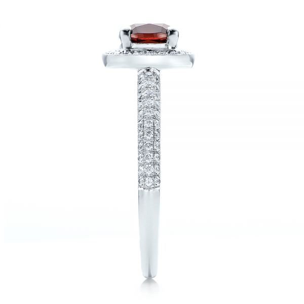 Custom Garnet and Diamond Halo Engagement Ring - Side View -  100925 - Thumbnail