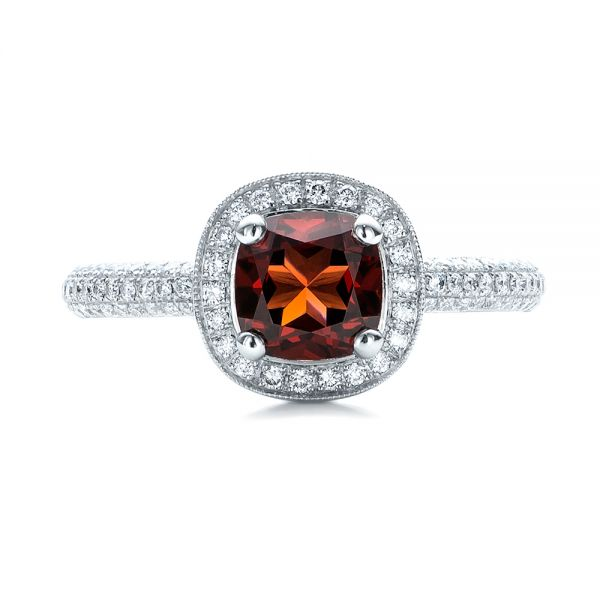Custom Garnet and Diamond Halo Engagement Ring - Top View -  100925 - Thumbnail
