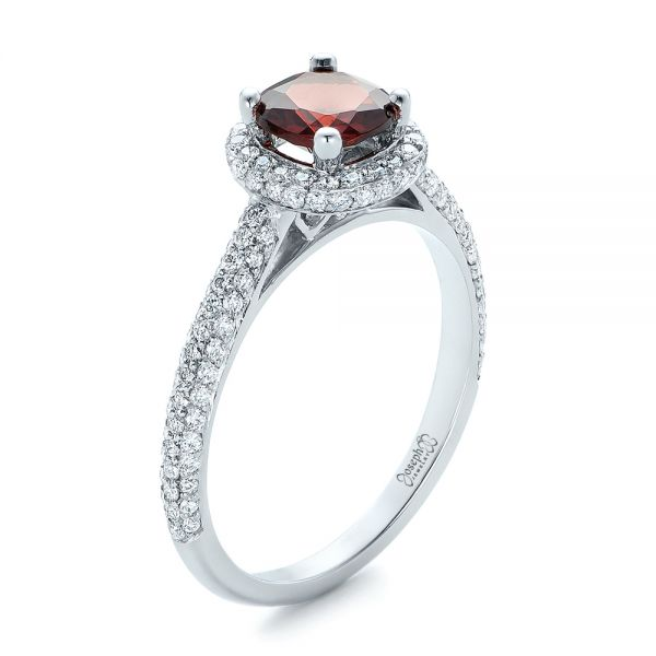 Custom Garnet and Pave Diamond Halo Engagement Ring - Image
