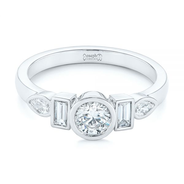 Platinum Custom Geometric Diamond Engagement Ring - Flat View -