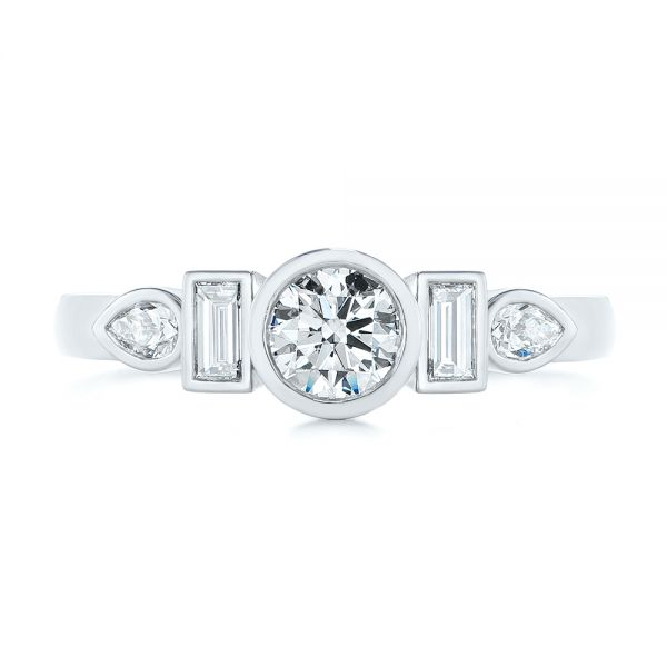 Platinum Custom Geometric Diamond Engagement Ring - Top View -