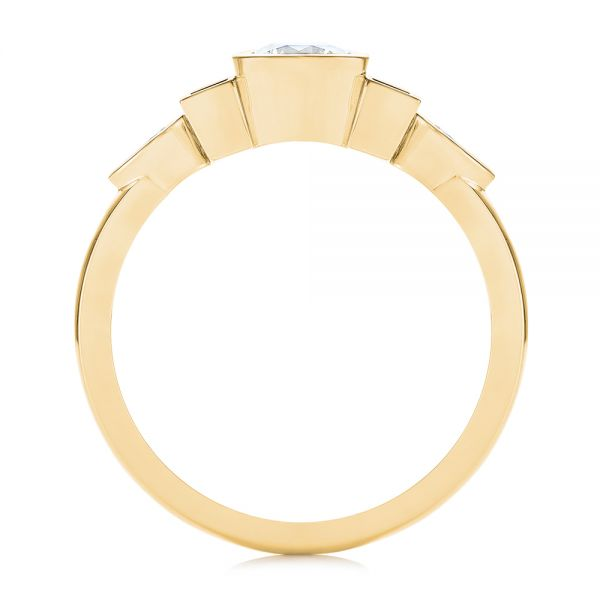 14K Yellow Gold Custom Geometric Diamond Engagement Ring - Front View -  104786 - Thumbnail