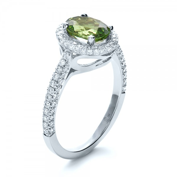 Custom Green Peridot and Diamond Engagement Ring