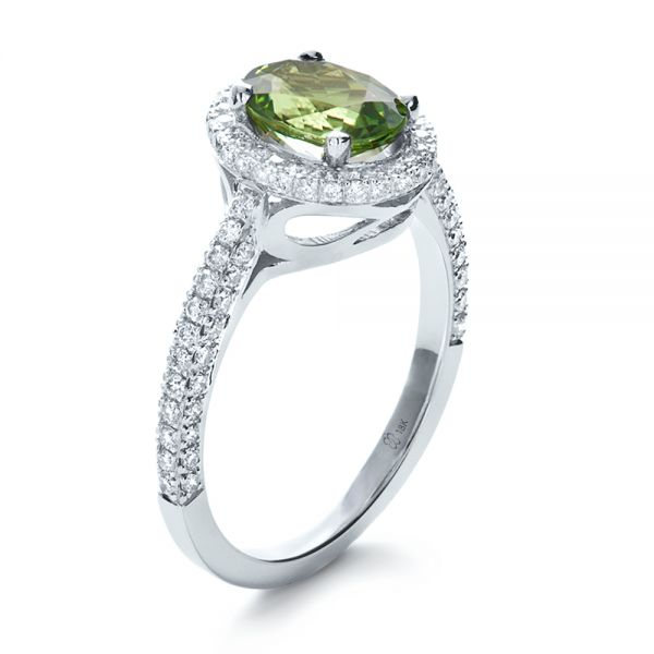 Custom Green Peridot and Diamond Engagement Ring - Image