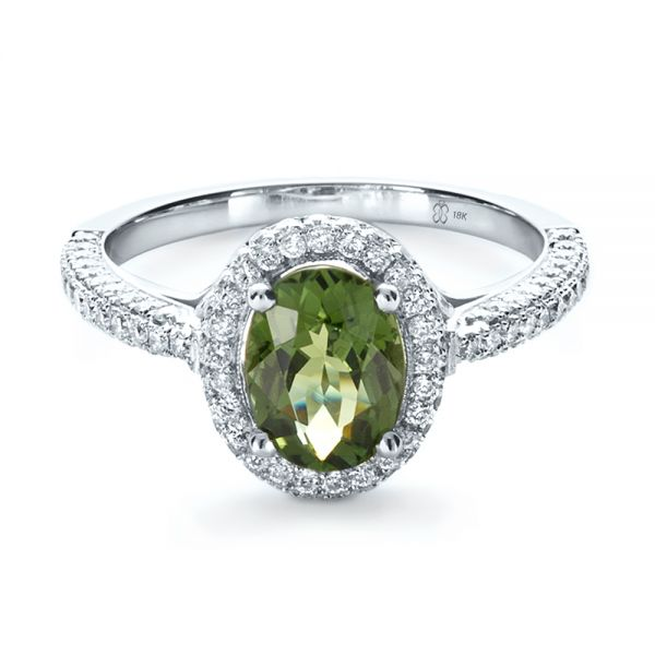 Custom Green Peridot and Diamond Engagement Ring - Flat View -  1125 - Thumbnail