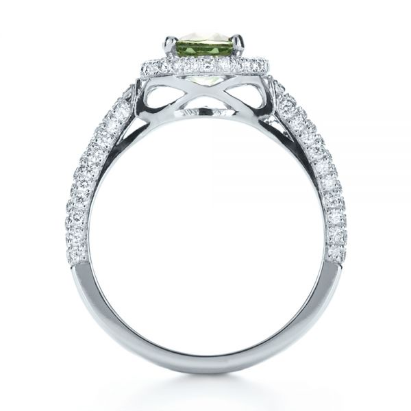 Custom Green Peridot and Diamond Engagement Ring - Front View -  1125 - Thumbnail