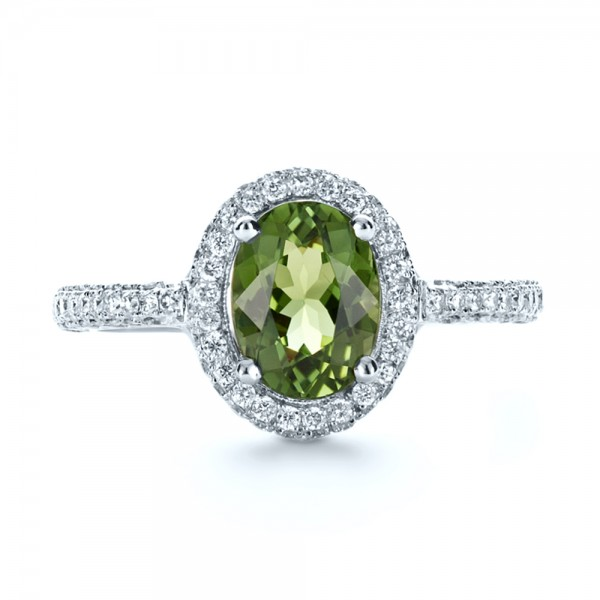 Custom Green Peridot and Diamond Engagement Ring - Top View -  1125 - Thumbnail