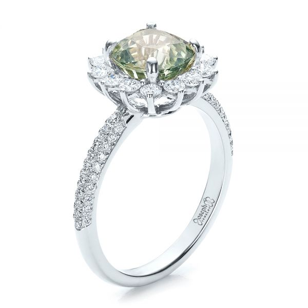 Custom Green Sapphire and Diamond Engagement Ring - Image