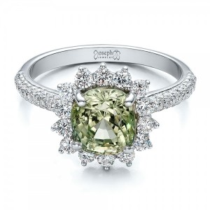 Custom Green Sapphire and Diamond Engagement Ring